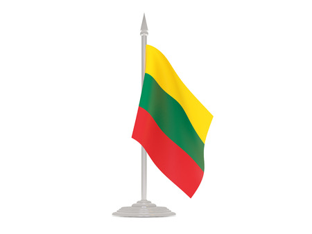 flagpole: Flag of lithuania  with flagpole isolated on white. 3d render