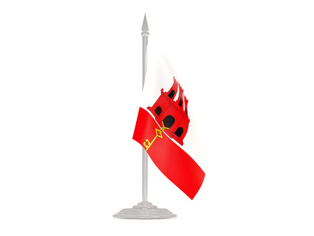 flagpoles: Flag of gibraltar  with flagpole isolated on white. 3d render