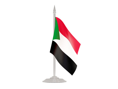 flagpoles: Flag of sudan  with flagpole isolated on white. 3d render