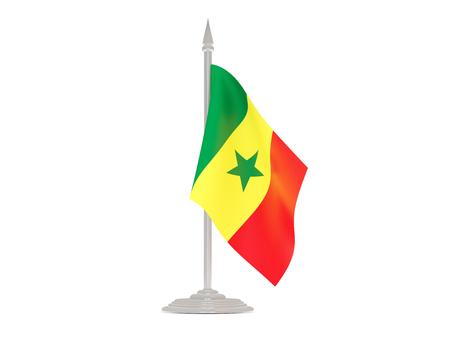 flagpole: Flag of senegal  with flagpole isolated on white. 3d render Stock Photo
