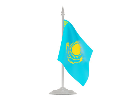 flagpole: Flag of kazakhstan  with flagpole isolated on white. 3d render