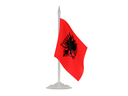 flagpole: Flag of albania  with flagpole isolated on white. 3d render