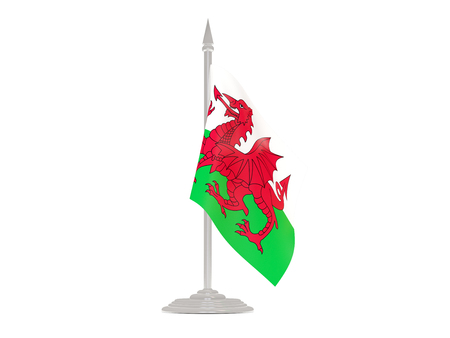 flagpole: Flag of wales  with flagpole isolated on white. 3d render Stock Photo