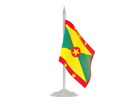 flagpole: Flag of grenada  with flagpole isolated on white. 3d render Stock Photo