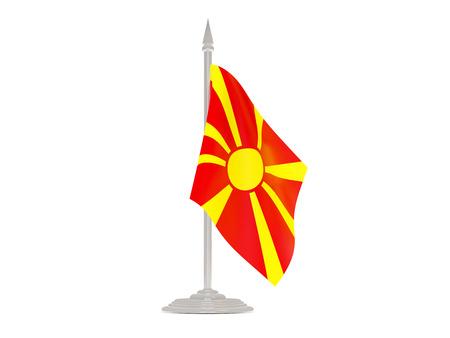 flagpole: Flag of macedonia  with flagpole isolated on white. 3d render Stock Photo