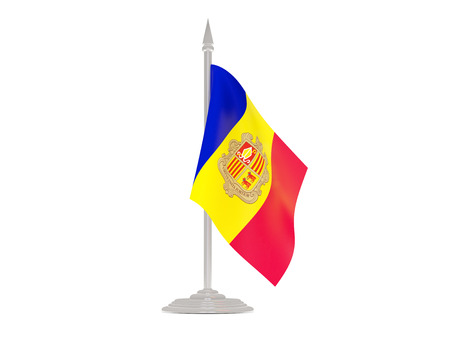 andorra: Flag of andorra  with flagpole isolated on white. 3d render Stock Photo
