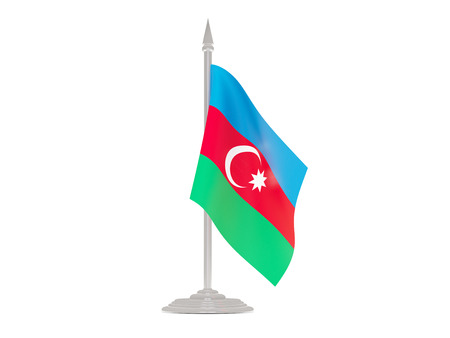 flagpole: Flag of azerbaijan  with flagpole isolated on white. 3d render Stock Photo