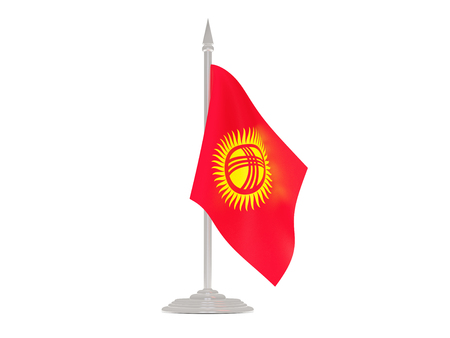 flagpole: Flag of kyrgyzstan  with flagpole isolated on white. 3d render Stock Photo