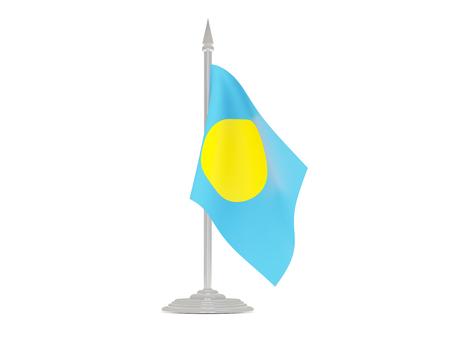 flagpole: Flag of palau  with flagpole isolated on white. 3d render Stock Photo