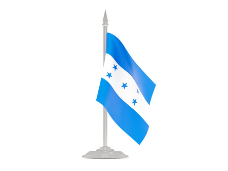 flagpole: Flag of honduras  with flagpole isolated on white. 3d render