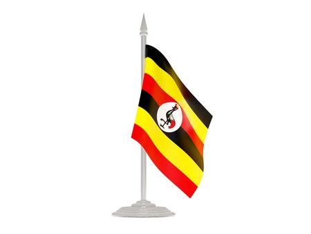 flagpole: Flag of uganda  with flagpole isolated on white. 3d render