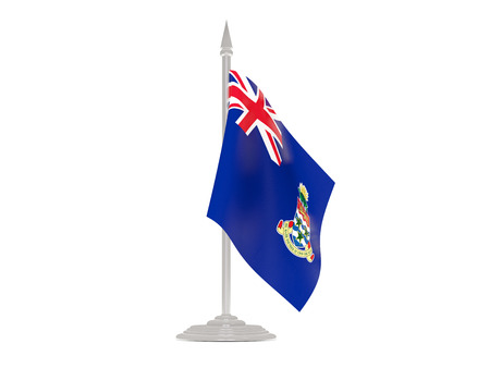 cayman islands: Flag of cayman islands  with flagpole isolated on white. 3d render