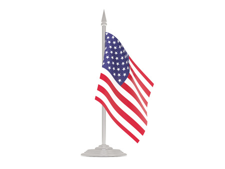 flagpole: Flag of united states of america  with flagpole isolated on white. 3d render