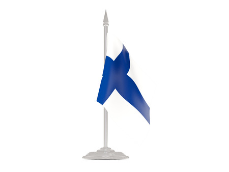 flagpole: Flag of finland  with flagpole isolated on white. 3d render