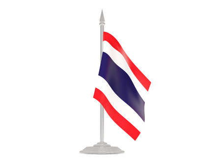 flagpole: Flag of thailand  with flagpole isolated on white. 3d render