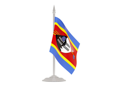 flagpole: Flag of swaziland  with flagpole isolated on white. 3d render