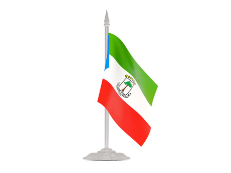 equatorial: Flag of equatorial guinea  with flagpole isolated on white. 3d render