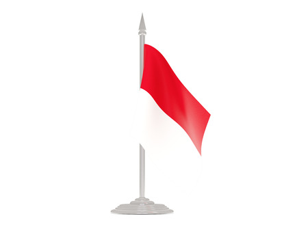 Flag of indonesia  with flagpole isolated on white. 3d render
