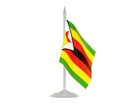 flagpole: Flag of zimbabwe  with flagpole isolated on white. 3d render