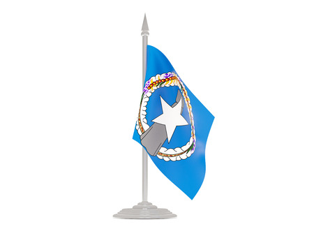 mariana: Flag of northern mariana islands  with flagpole isolated on white. 3d render Stock Photo