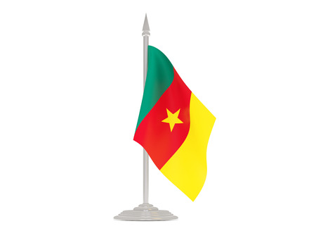 cameroon: Flag of cameroon  with flagpole isolated on white. 3d render
