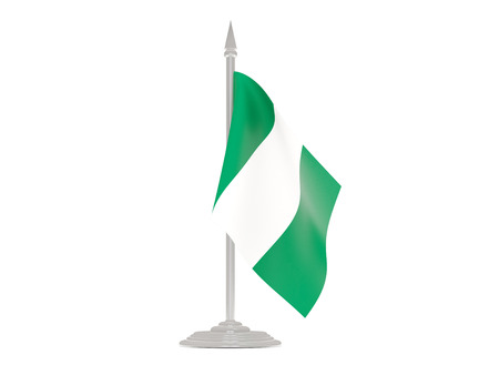 flagpoles: Flag of nigeria  with flagpole isolated on white. 3d render