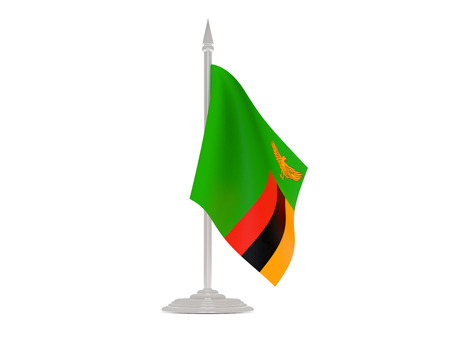 flagpole: Flag of zambia  with flagpole isolated on white. 3d render