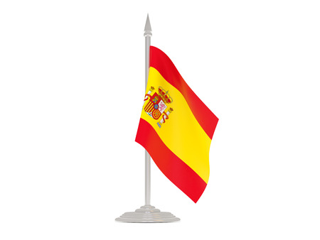 flagpoles: Flag of spain  with flagpole isolated on white. 3d render Stock Photo