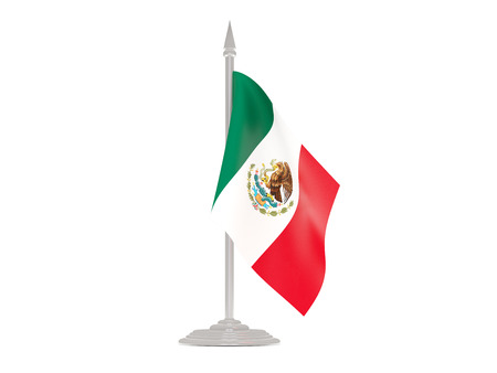 flagpole: Flag of mexico  with flagpole isolated on white. 3d render