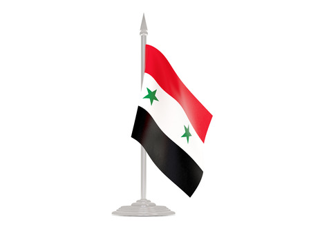 flagpoles: Flag of syria  with flagpole isolated on white. 3d render
