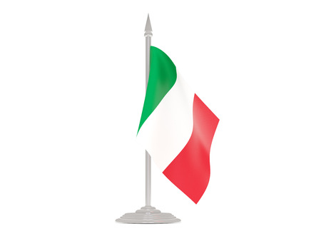 flagpole: Flag of italy  with flagpole isolated on white. 3d render