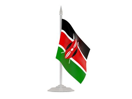 flagpoles: Flag of kenya  with flagpole isolated on white. 3d render