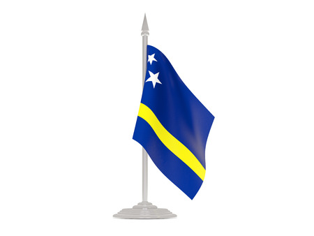 flagpole: Flag of curacao  with flagpole isolated on white. 3d render Stock Photo