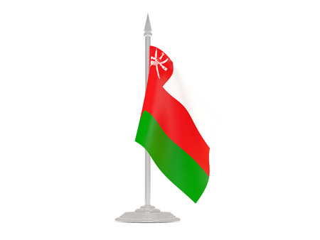 flagpole: Flag of oman  with flagpole isolated on white. 3d render