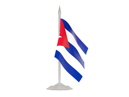 flagpoles: Flag of cuba  with flagpole isolated on white. 3d render