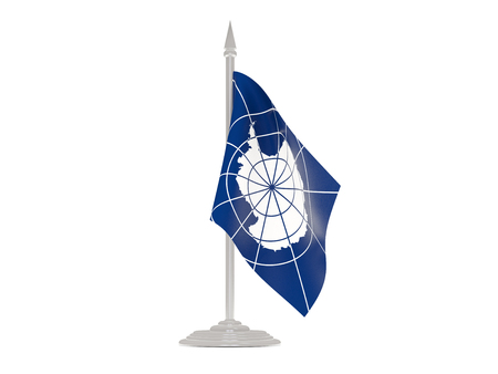 flagpole: Flag of antarctica  with flagpole isolated on white. 3d render