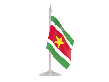 flagpole: Flag of suriname  with flagpole isolated on white. 3d render