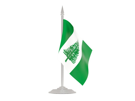 flagpole: Flag of norfolk island  with flagpole isolated on white. 3d render Stock Photo