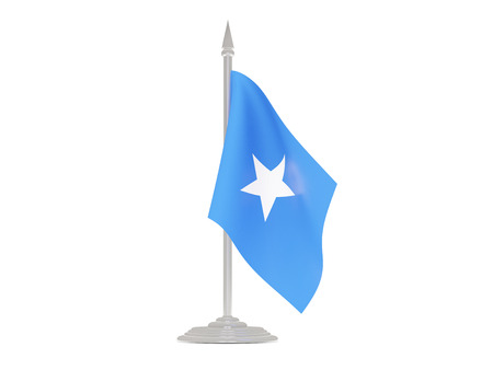 somalia: Flag of somalia  with flagpole isolated on white. 3d render