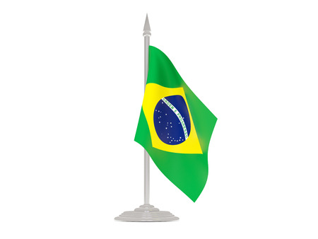 flagpole: Flag of brazil  with flagpole isolated on white. 3d render