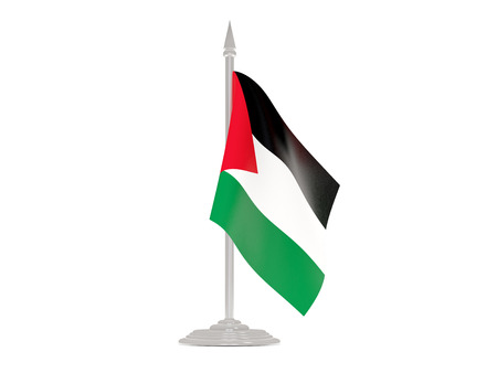 palestinian: Flag of palestinian territory  with flagpole isolated on white. 3d render