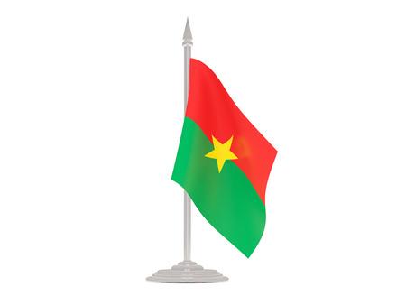 flagpole: Flag of burkina faso  with flagpole isolated on white. 3d render