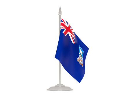 falkland: Flag of falkland islands  with flagpole isolated on white. 3d render