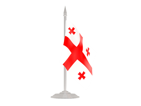 flagpole: Flag of georgia  with flagpole isolated on white. 3d render