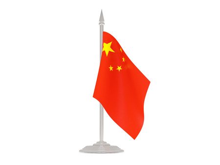 flagpole: Flag of china  with flagpole isolated on white. 3d render