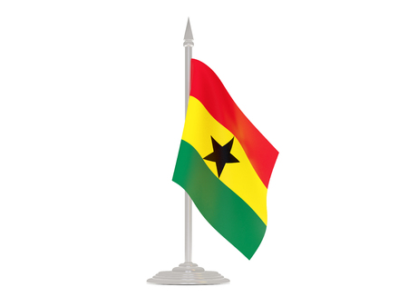 flagpole: Flag of ghana  with flagpole isolated on white. 3d render Stock Photo