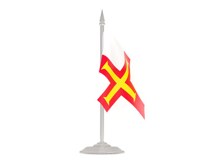 guernsey: Flag of guernsey  with flagpole isolated on white. 3d render