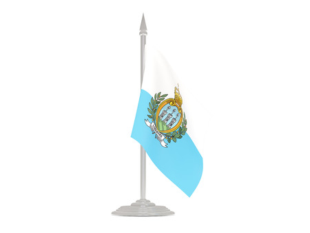 flagpole: Flag of san marino  with flagpole isolated on white. 3d render