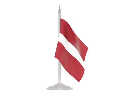Flag of latvia  with flagpole isolated on white. 3d render