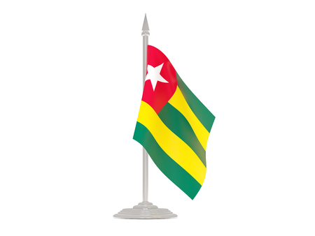 togo: Flag of togo  with flagpole isolated on white. 3d render Stock Photo